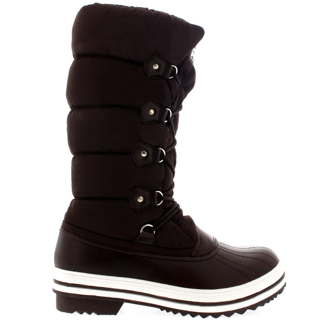Ladies Quilted Fur Lined Nylon Rubber Sole Winter Snow