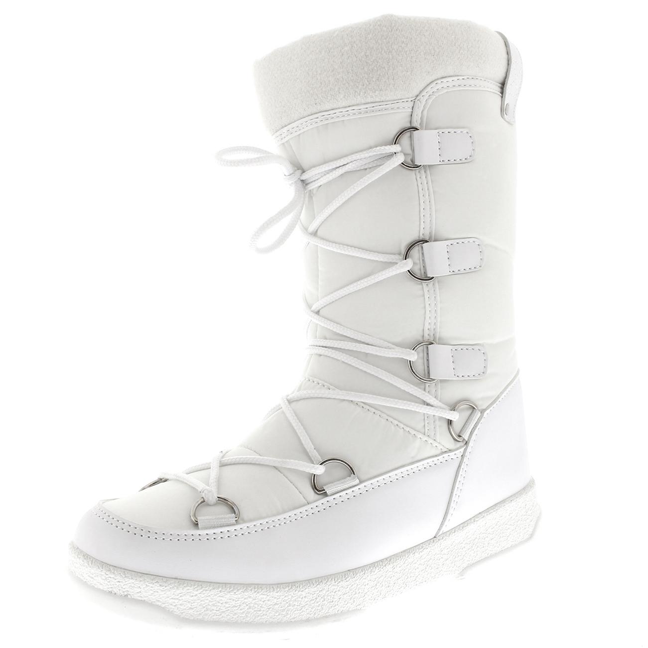 NIEVE-de-invierno-para-mujer-impermeable-durable-Fleece-Forrado-Termico-Botas-a-la-rodilla