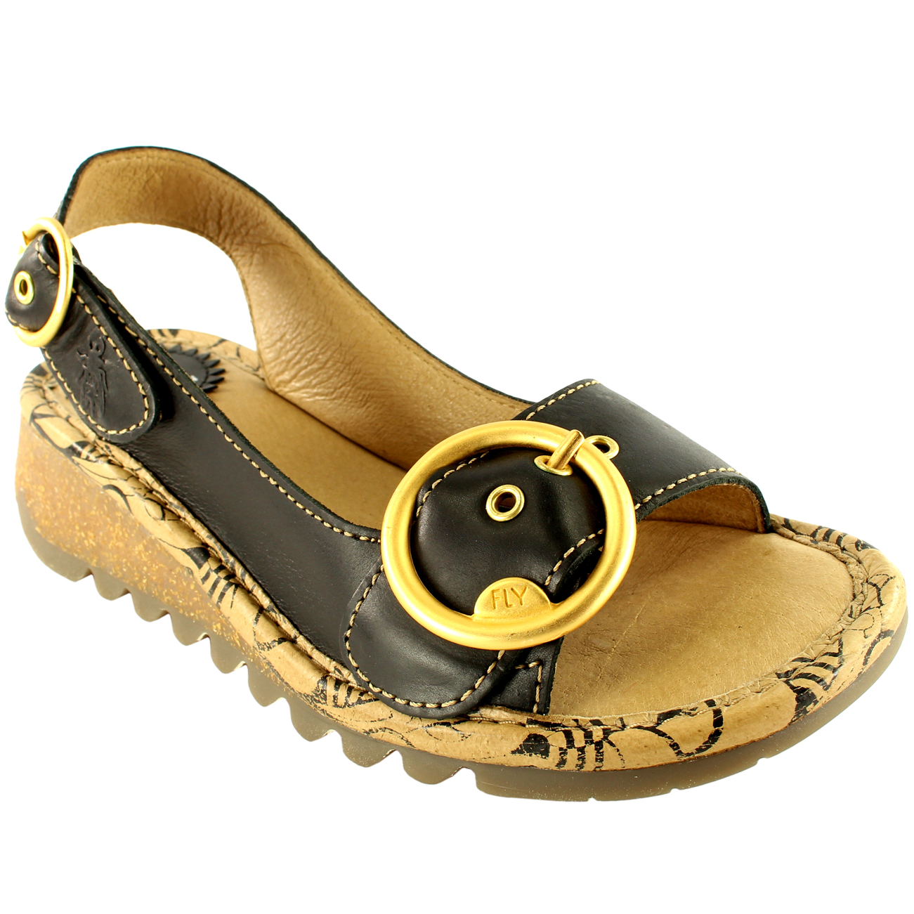 fdbbf51f7e Details about Ladies Fly London Tram Low Wedge Leather Sling Back Open Toe  Sandals All Sizes