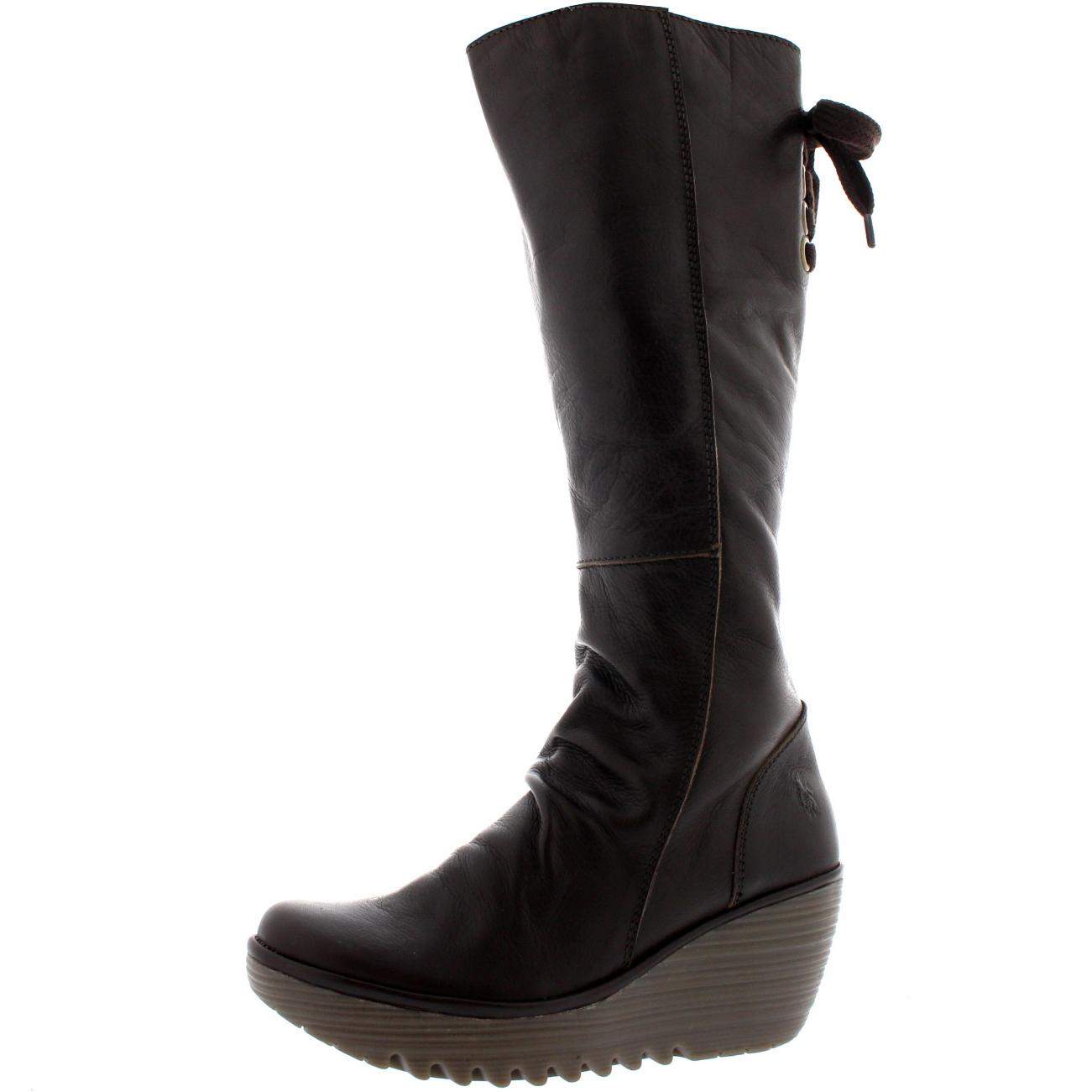 Ladies Fly London Yust Leather Winter Snow Wedge Heel Knee