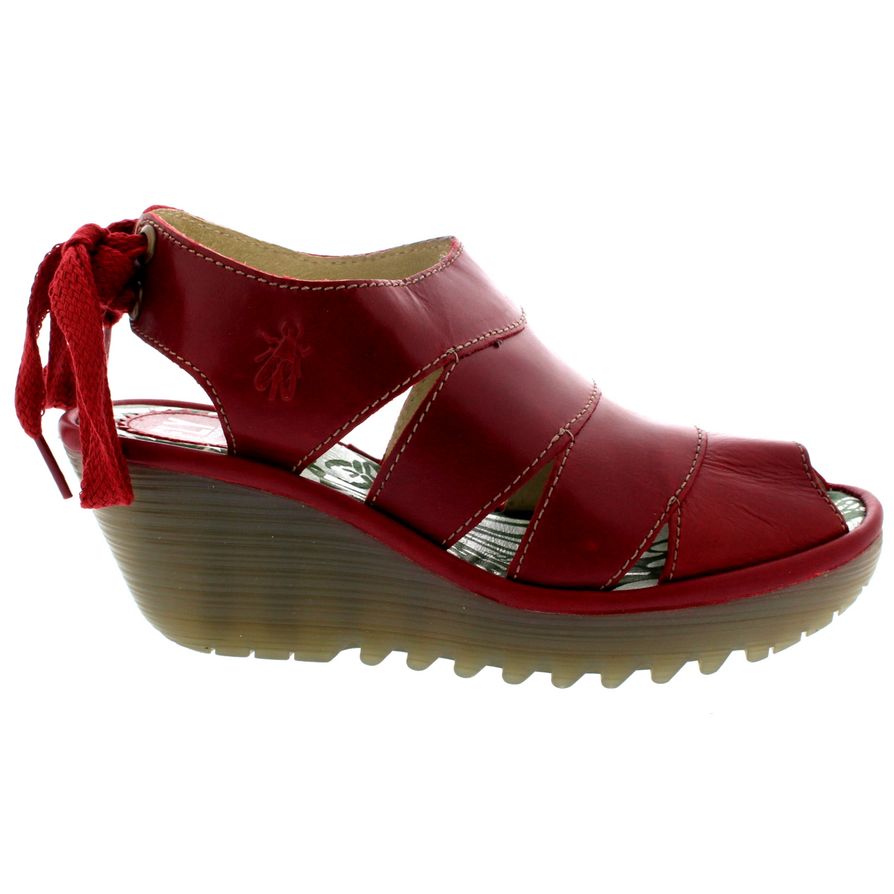 Ladies Fly London Yown Rug Laced Peep Toe Wedges Leather