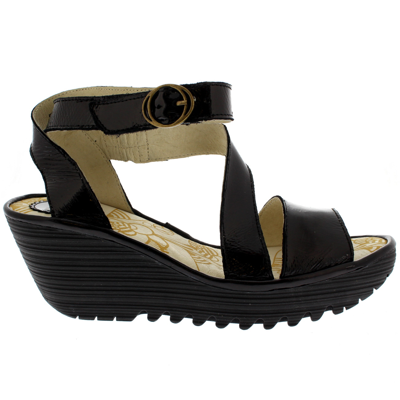 0dbfd717 Details about Ladies Fly London Yesk Luxor Holiday Summer Peep Toe Wedge  Sandals All Sizes