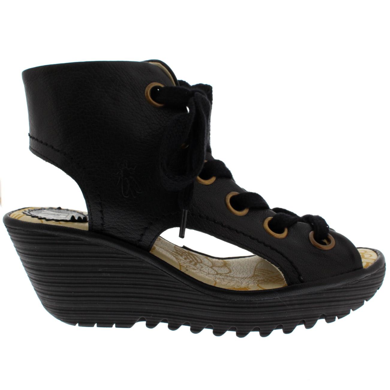 Ladies Fly Peep London Yaba Mousse Leather Peep Fly Toe Holiday zapato Wedge Heel All Talla 468990