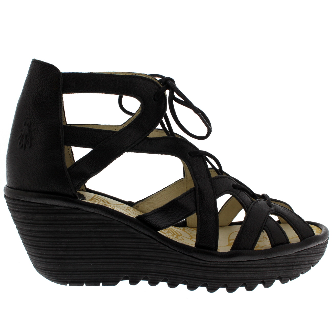 Ladies Fly London Out Yeli Mousse Cut Out London Holiday Summer Peep Toe Wedges All Talla 058d30