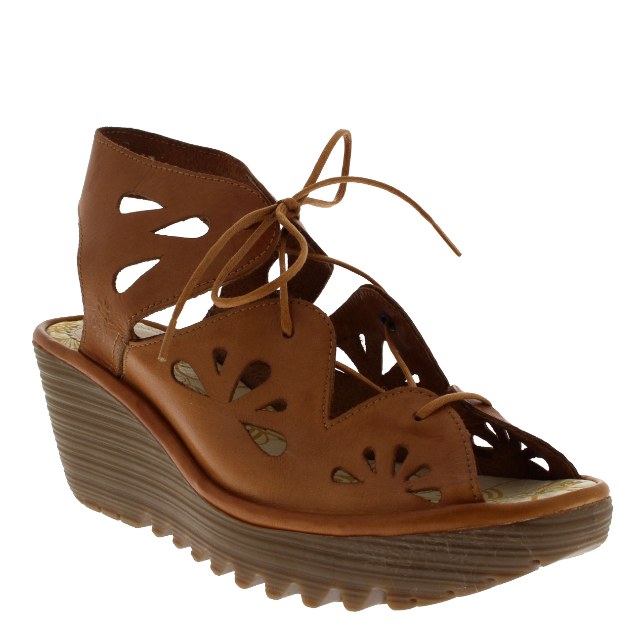Ladies Fly London London London Yote Leather Mid Heel Wedges Lace Up Holiday Sandals All Sizes e66ac5