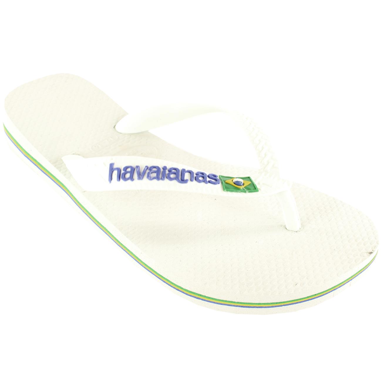 9f525331b686 Details about Ladies Havaianas Brasil Logo Slip On Flip Flops Summer Beach  Sandals All Sizes