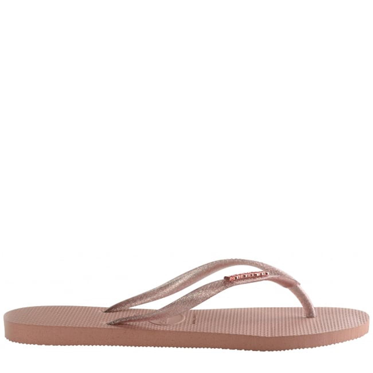 b2777d4273c Ladies Havaianas Slim Logo Metallic Toe Post Thong Beach Summer Sandal All  Sizes