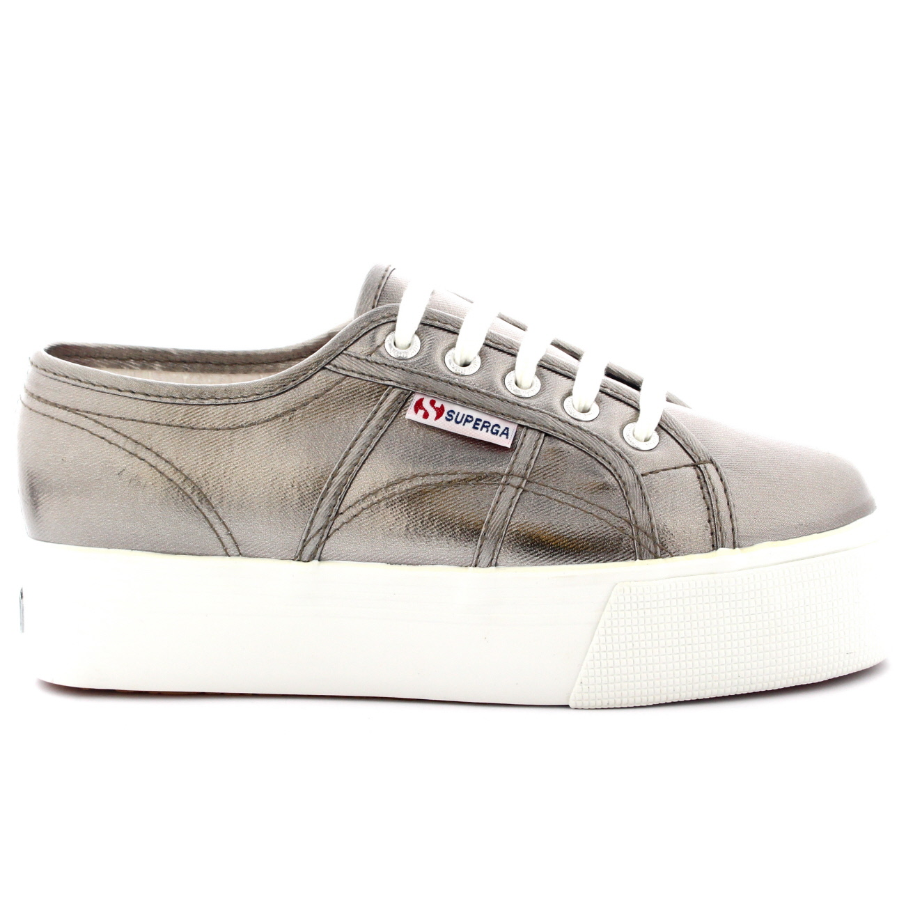 Superga 2790 Cotmetw Grey Womens Canvas Metallic Platform Trainers