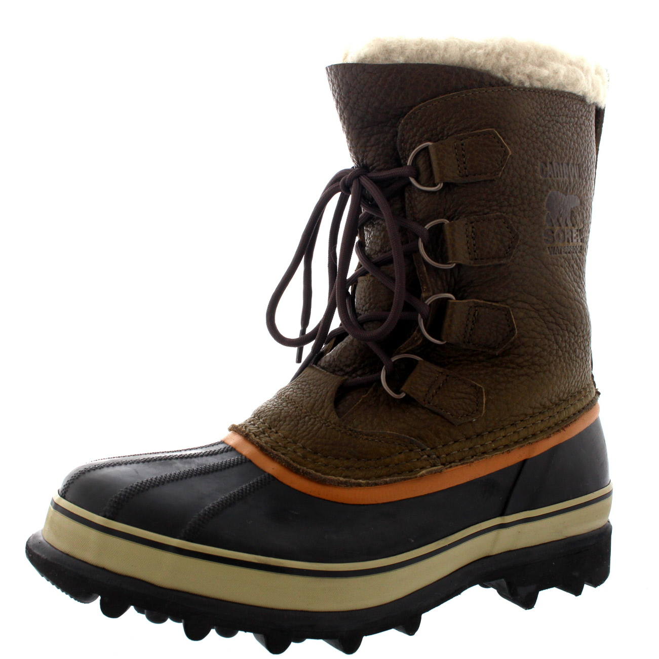 Mens Sorel Caribou WI Rain Fur Mid Calf Warm Snow Winter