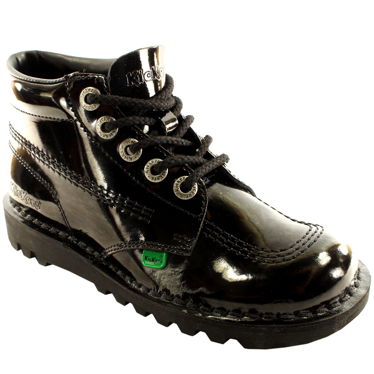 Unisex Kids Youth Kickers Kick Hi Black Patent Back To School Shoes All Sizes