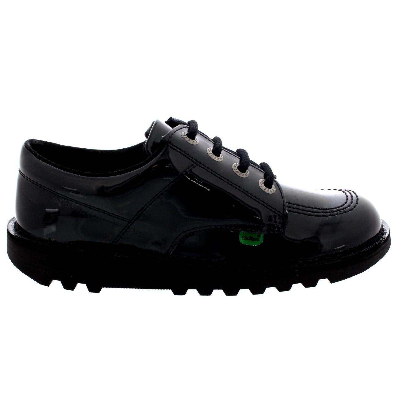 635b0bcbbb Details about Ladies Kickers Kick Lo Core Patent Casual Smart Lace Up Black  Shoes All Sizes