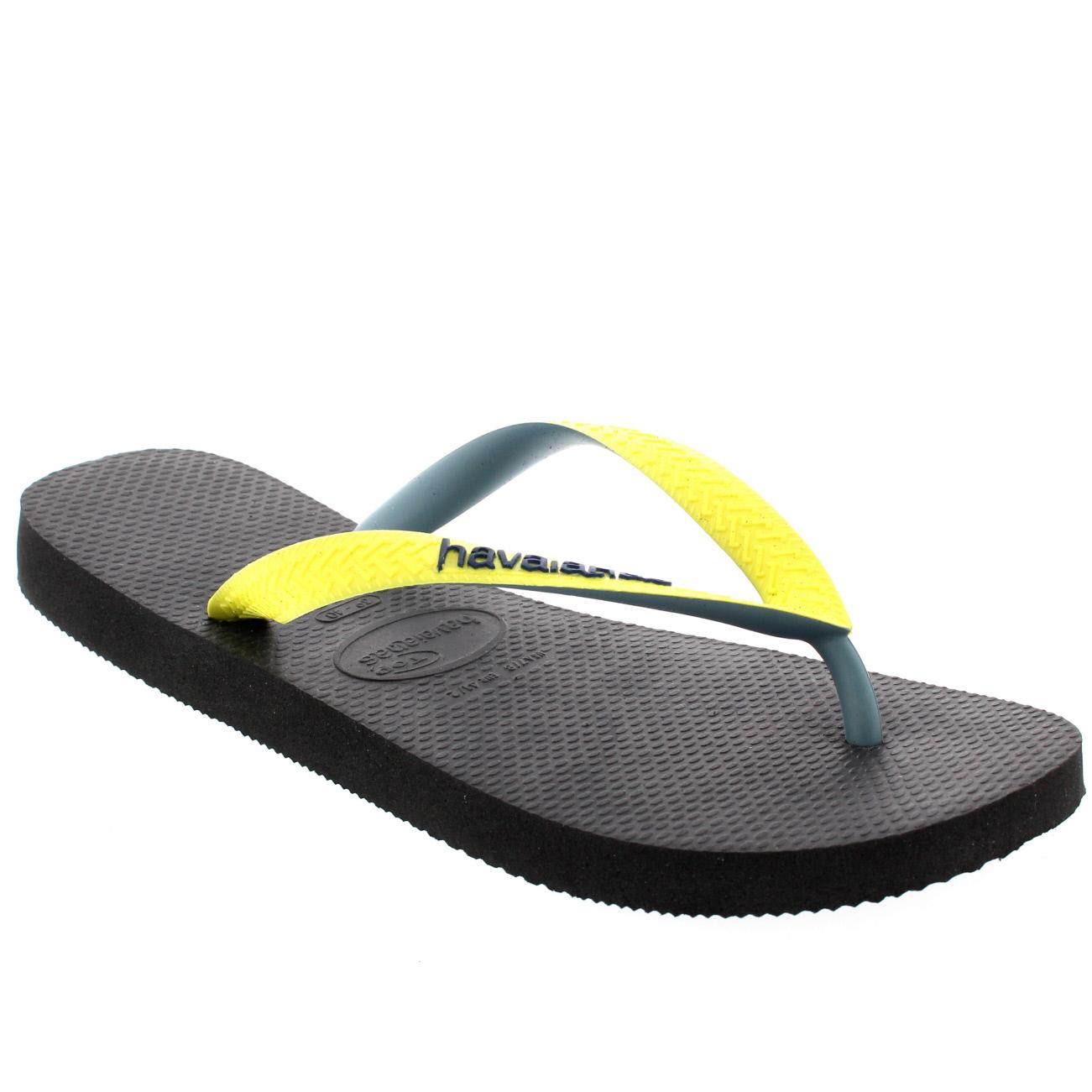 Damen Havaianas Top Mix Lässig Strand Sommer Urlaub Flip Flops Sandalen - Schwarz/Gelb - 41/42 j2IlbCc