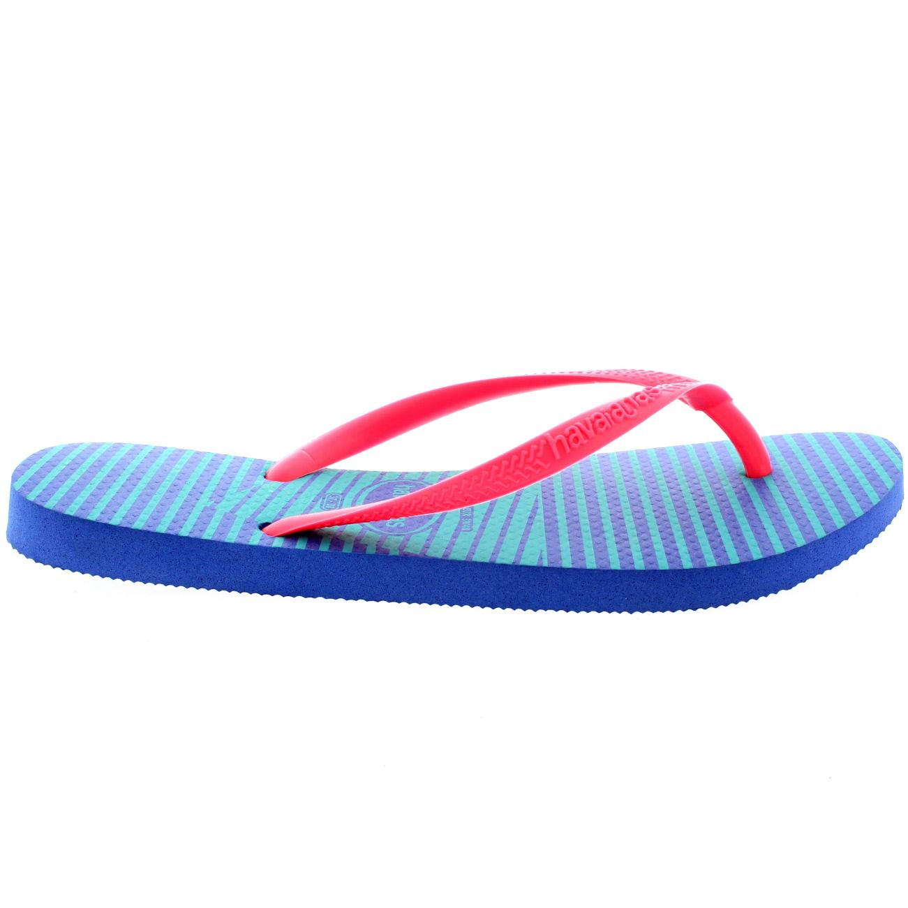 Damen Havaianas Slim Graphic Flache Urlaub Flip Flop Sommer Sandalen - Neon Rosa - 41/42 7o5pB