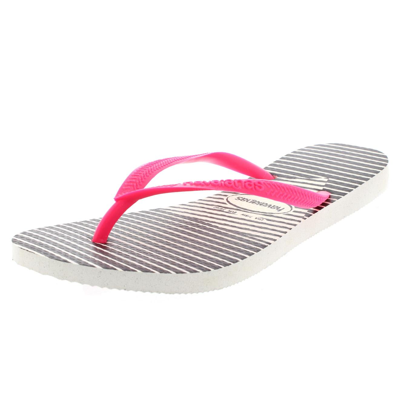 Damen Havaianas Slim Graphic Flache Urlaub Flip Flop Sommer Sandalen - Neon Rosa - 39/40 L0n4oQf