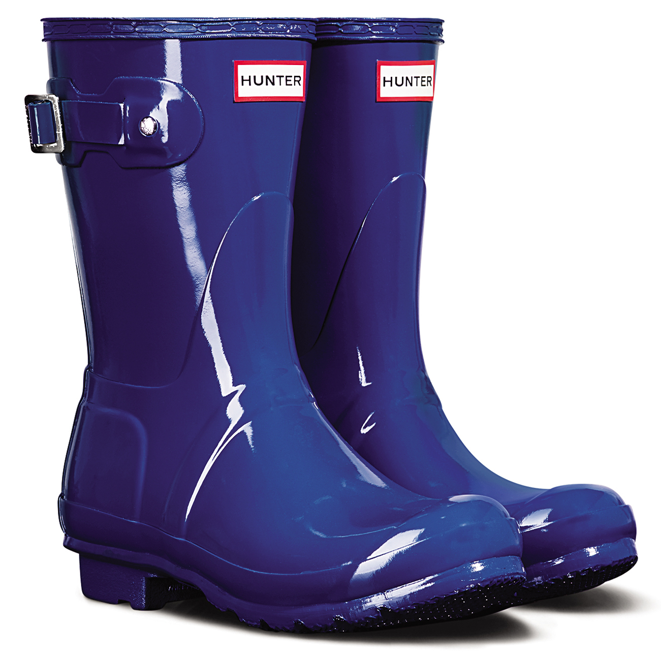 Damen Hunter Original Short Gloss Schnee Gummi Gummistiefel Wasserdicht - Azurblau - 37