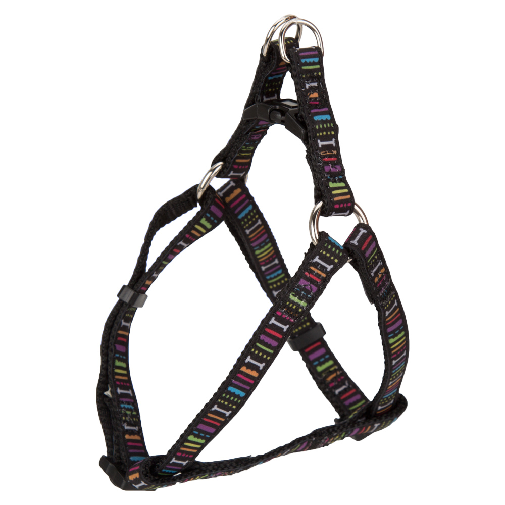 ADJUSTABLE PET SMALL DOG PUPPY STEP-IN HARNESS Black Striped X Small