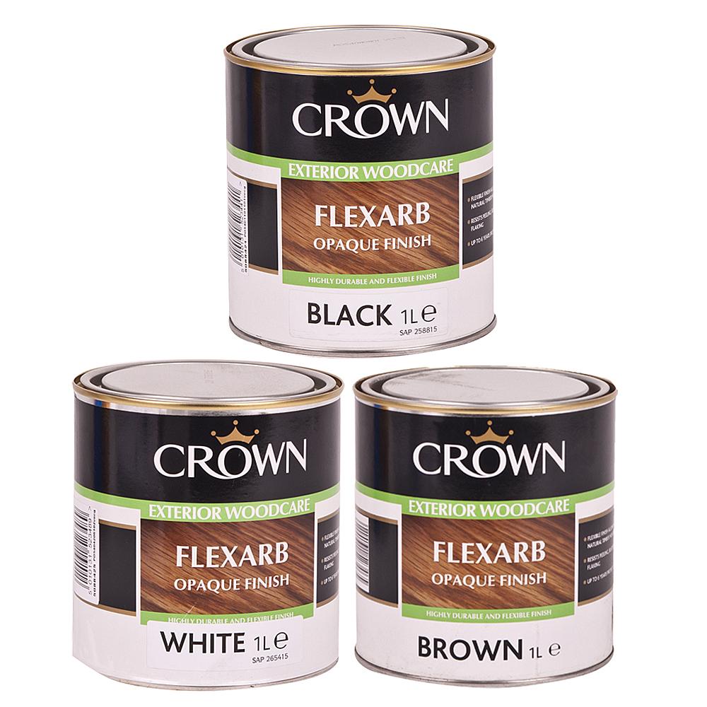 Crown flexarb opaque wood paint coating 1l various - Crown exterior wood paint colours ...