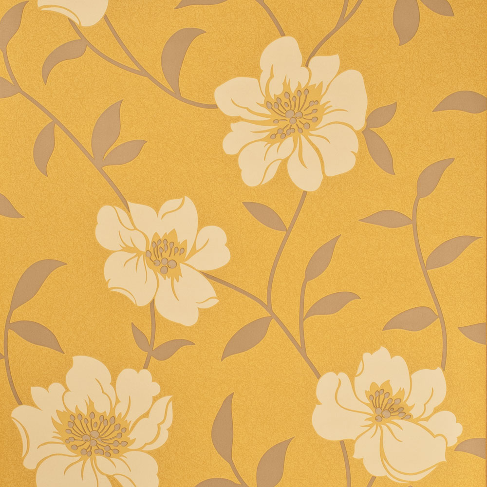Fresco Floral Patterned Wallpaper Mustard Yellow Grey