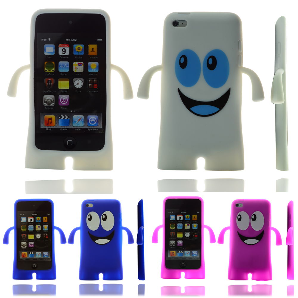 happy face silicone skin case cover for apple ipod touch 4. Black Bedroom Furniture Sets. Home Design Ideas