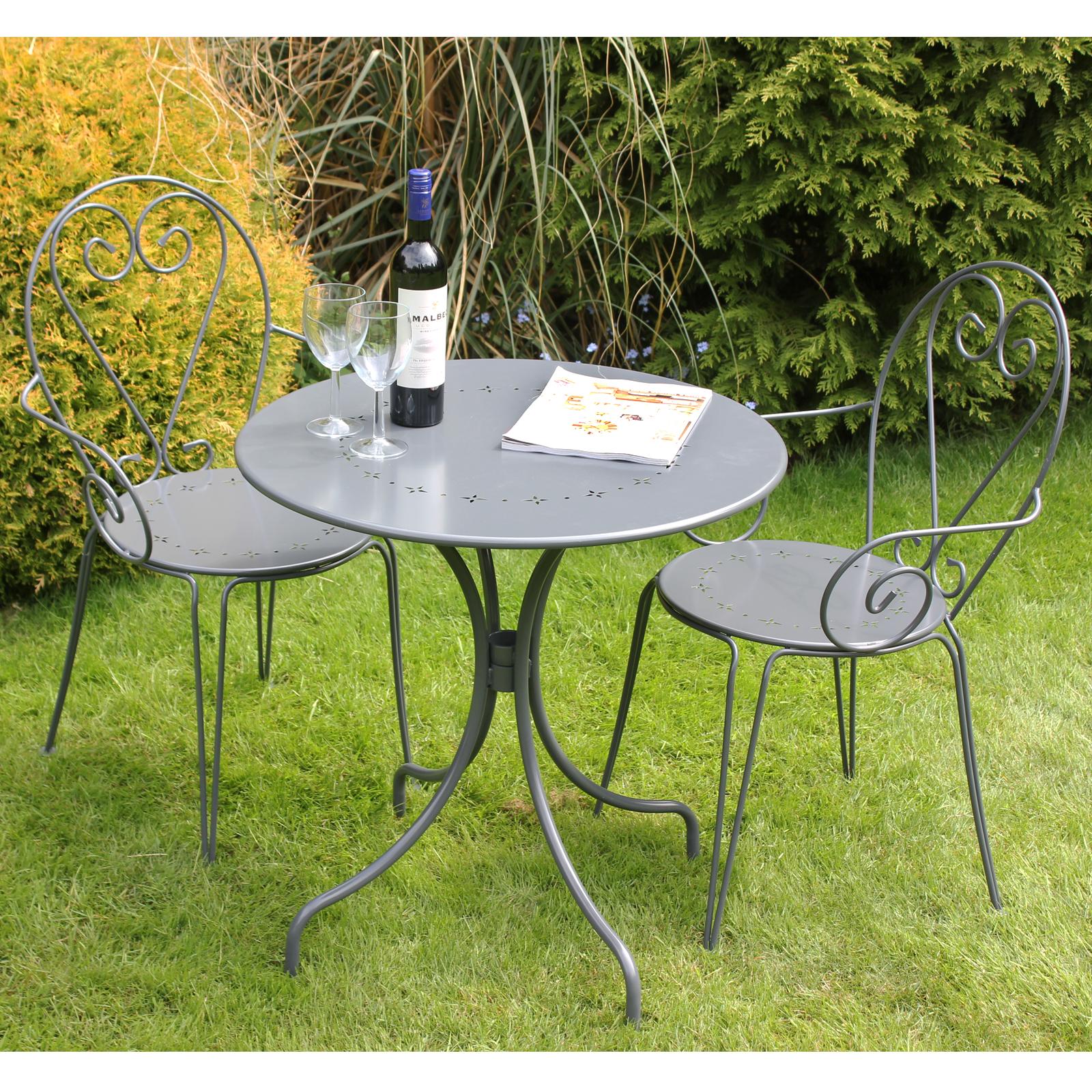 charles bentley bistro gartenm bel aus stahl tisch 2 st hle shabby chic ebay. Black Bedroom Furniture Sets. Home Design Ideas