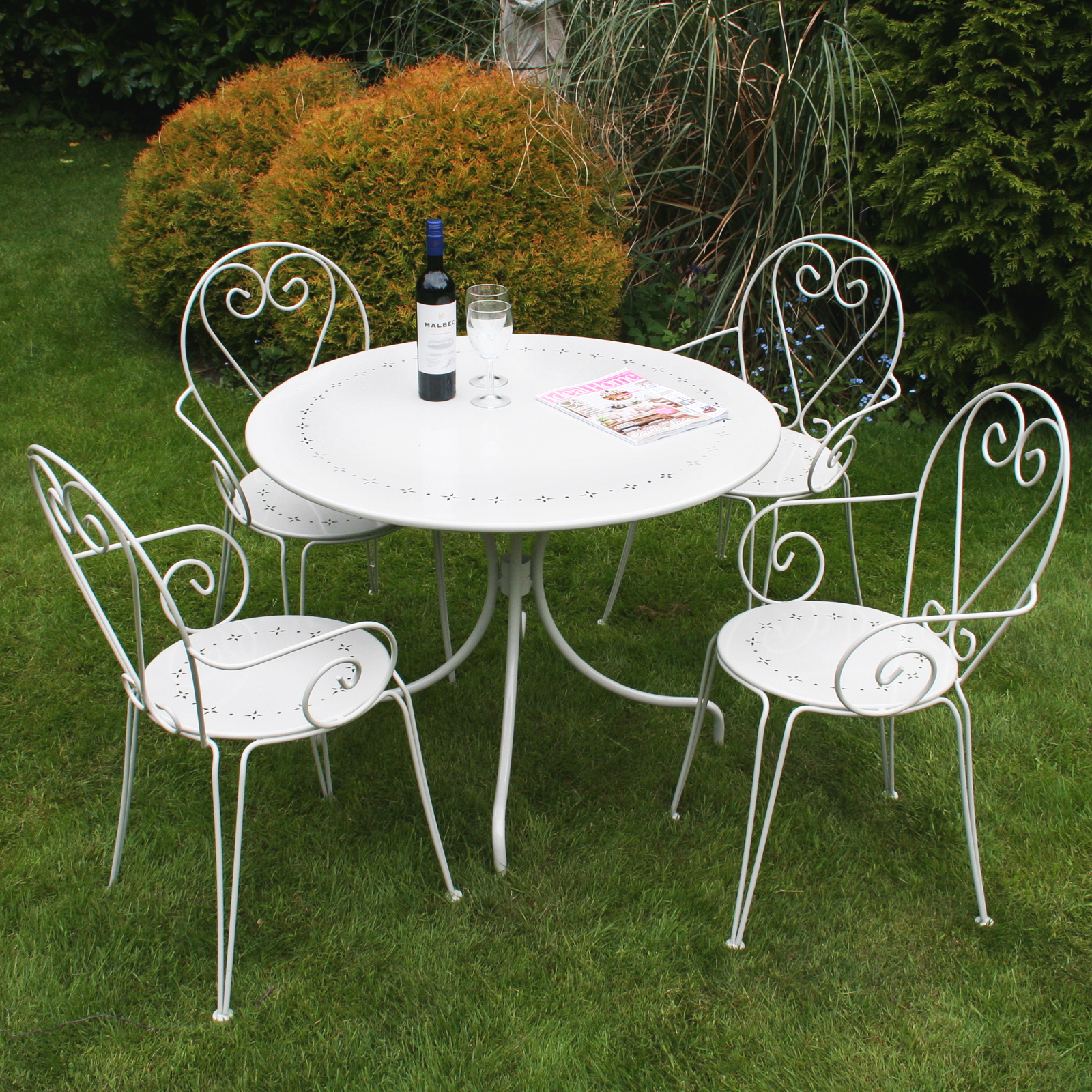Bentley Garden Furniture Steel Heart 5 Piece Shabby Chic Set - Cream ...