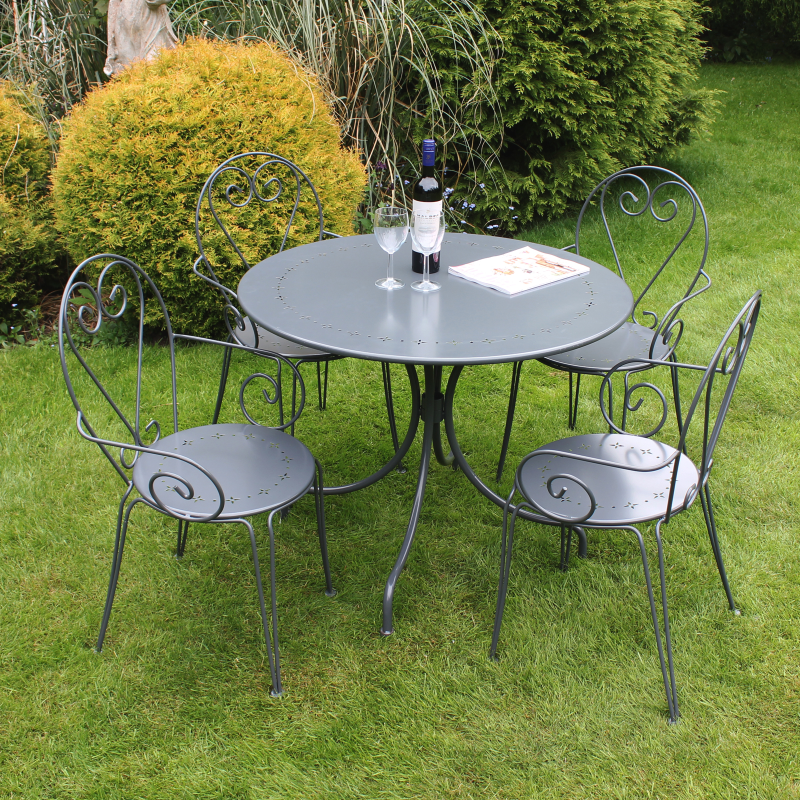 bentley garden furniture steel heart 5 piece shabby - Garden Furniture Steel