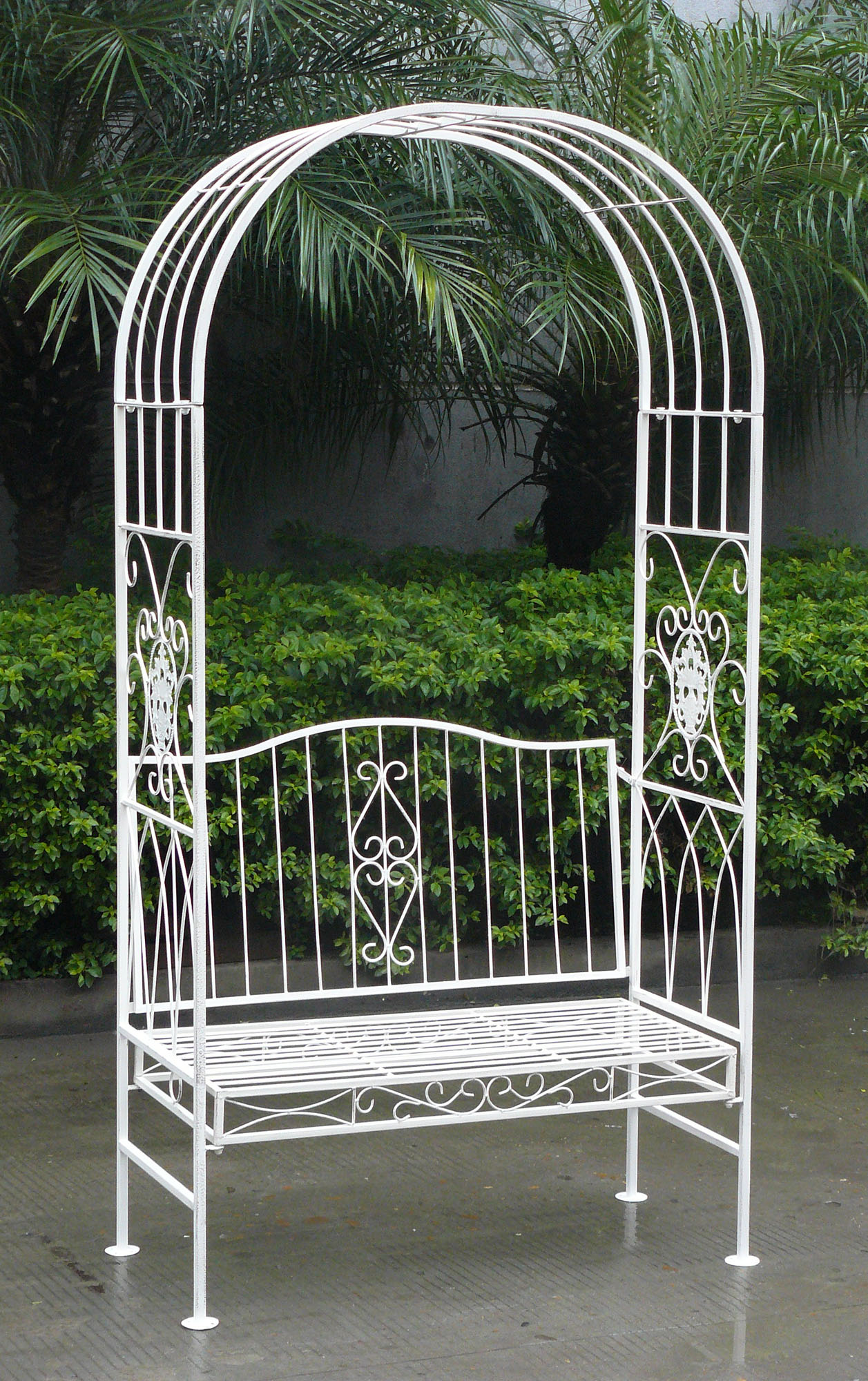 Attrayant Charles Bentley White Wrought Iron Shabby Chic Outdoor Arch Archway U0026 Bench