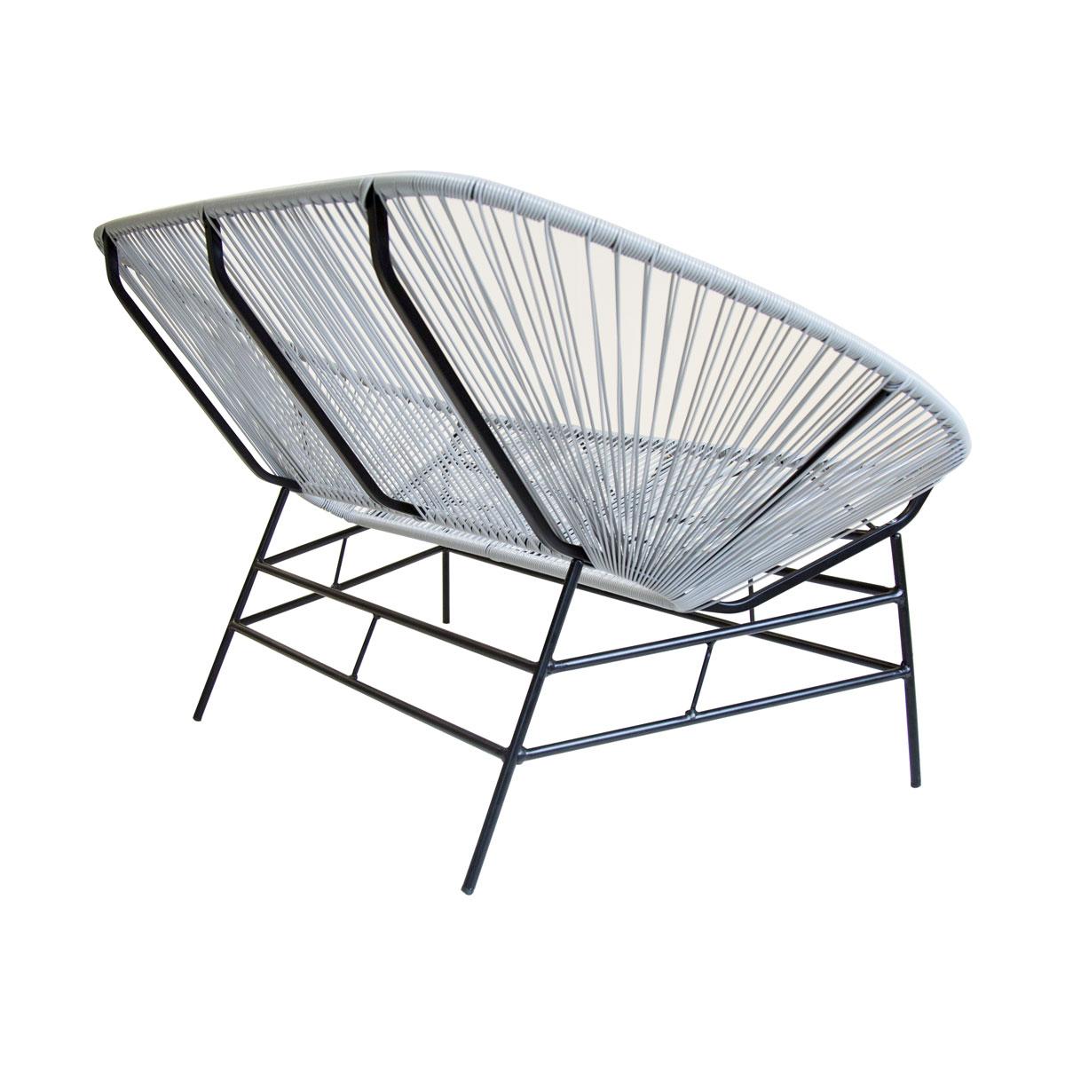 Charles Bentley Garden Furniture Retro Rattan Lounge Bench - Grey ...