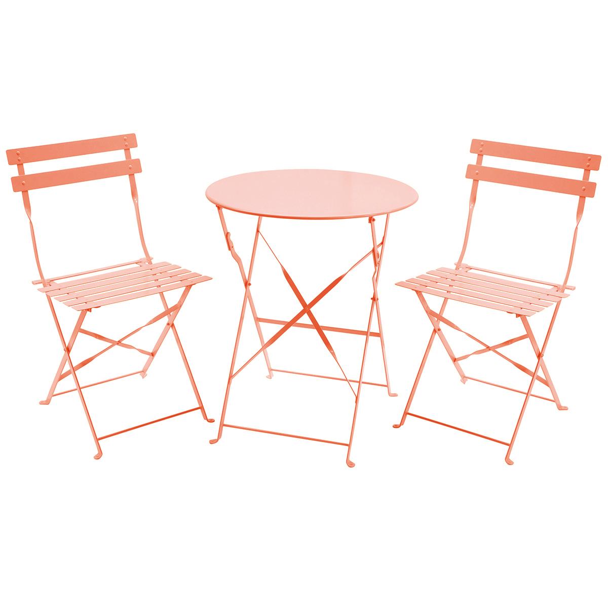 Salon de jardin pliable 3 pièces - table ronde/2 chaises - style ...