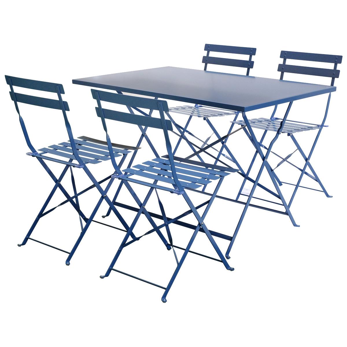 Charles-BENTLEY-4-asientos-rectangular-plegable-de-metal-conjunto-de-Comedor-Naranja-Azul-Marino