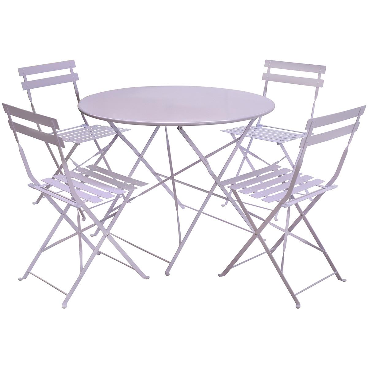 Gartenmöbel-Set für Terrasse - 1 runder Tisch & 4 Stühle aus Metall ...