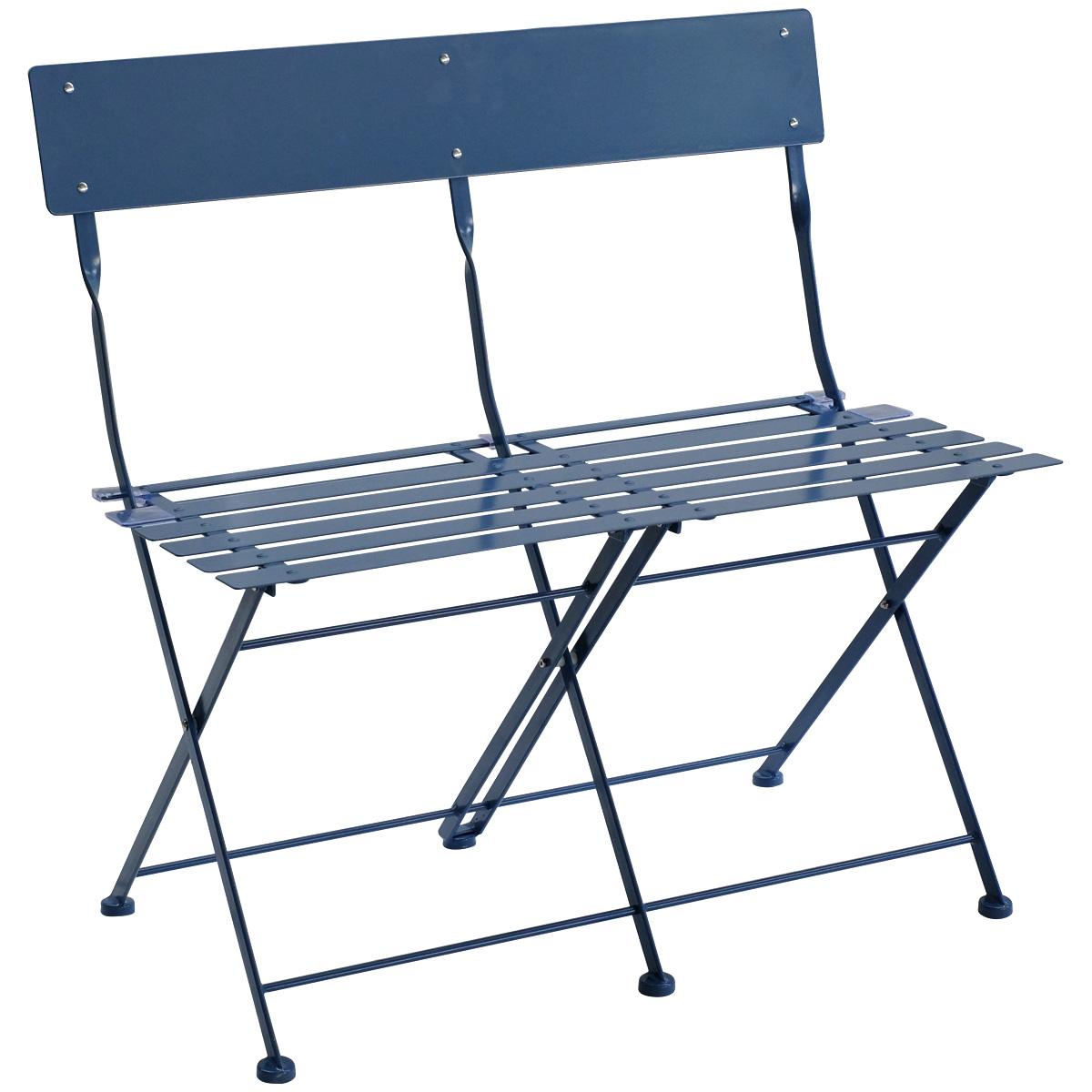 Peachy Details About Charles Bentley 2 Seater Folding Metal Bistro Bench Garden Seat Chair Navy Theyellowbook Wood Chair Design Ideas Theyellowbookinfo