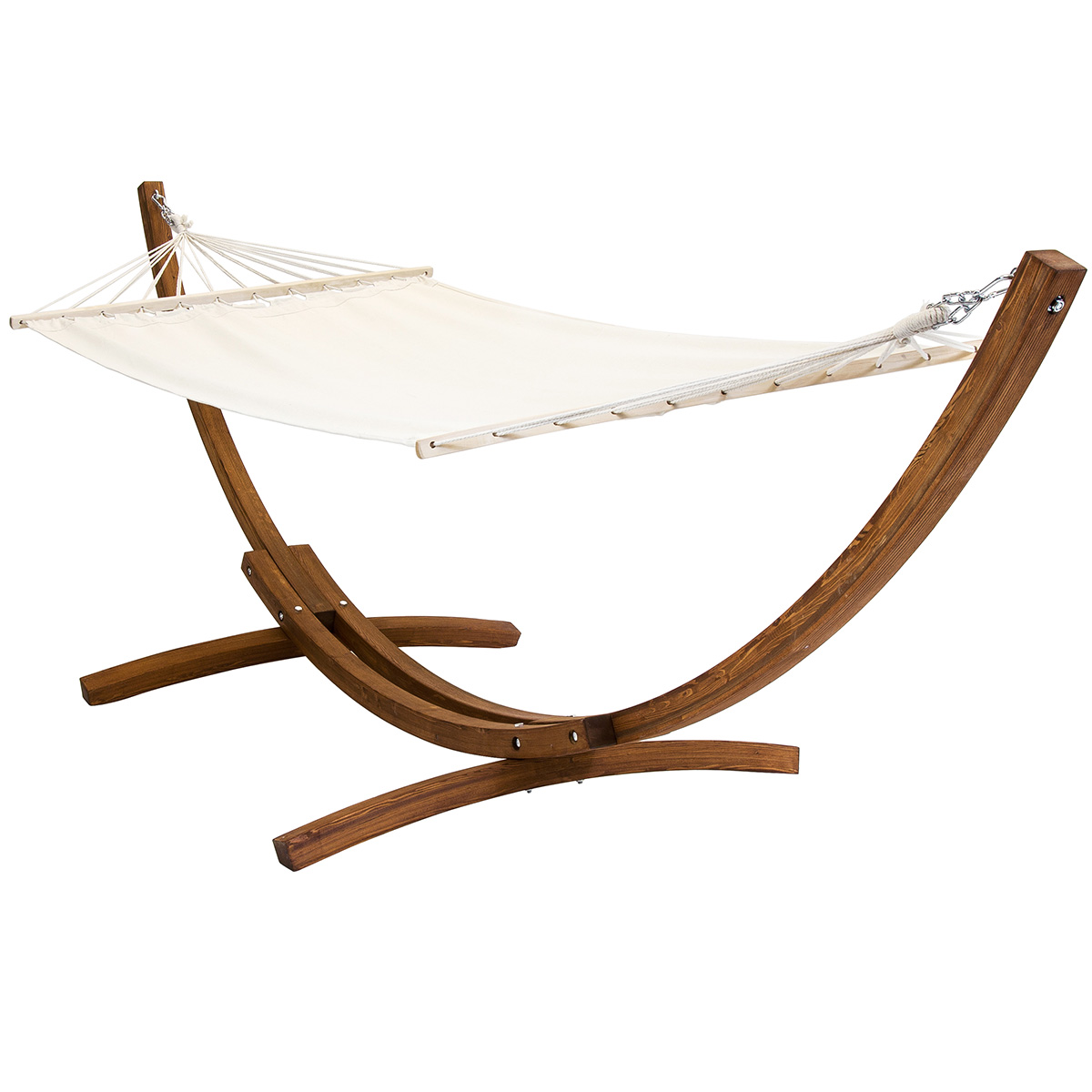 Patio Hammock: Free Standing Canvas Garden Hammock With Wooden Arc Stand
