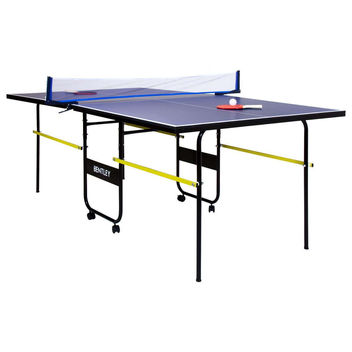Tavolo da ping pong portatile pieghevole 1 8 m blu ebay - Costruire tavolo ping pong pieghevole ...