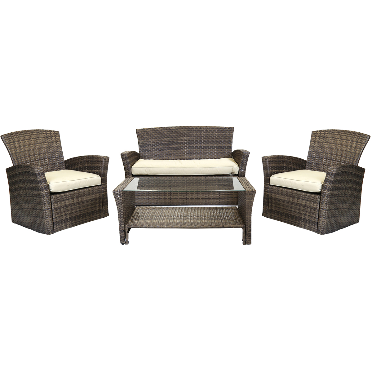 Charles Bentley Deluxe Modern 4 Piece Rattan Garden Furniture Set ...