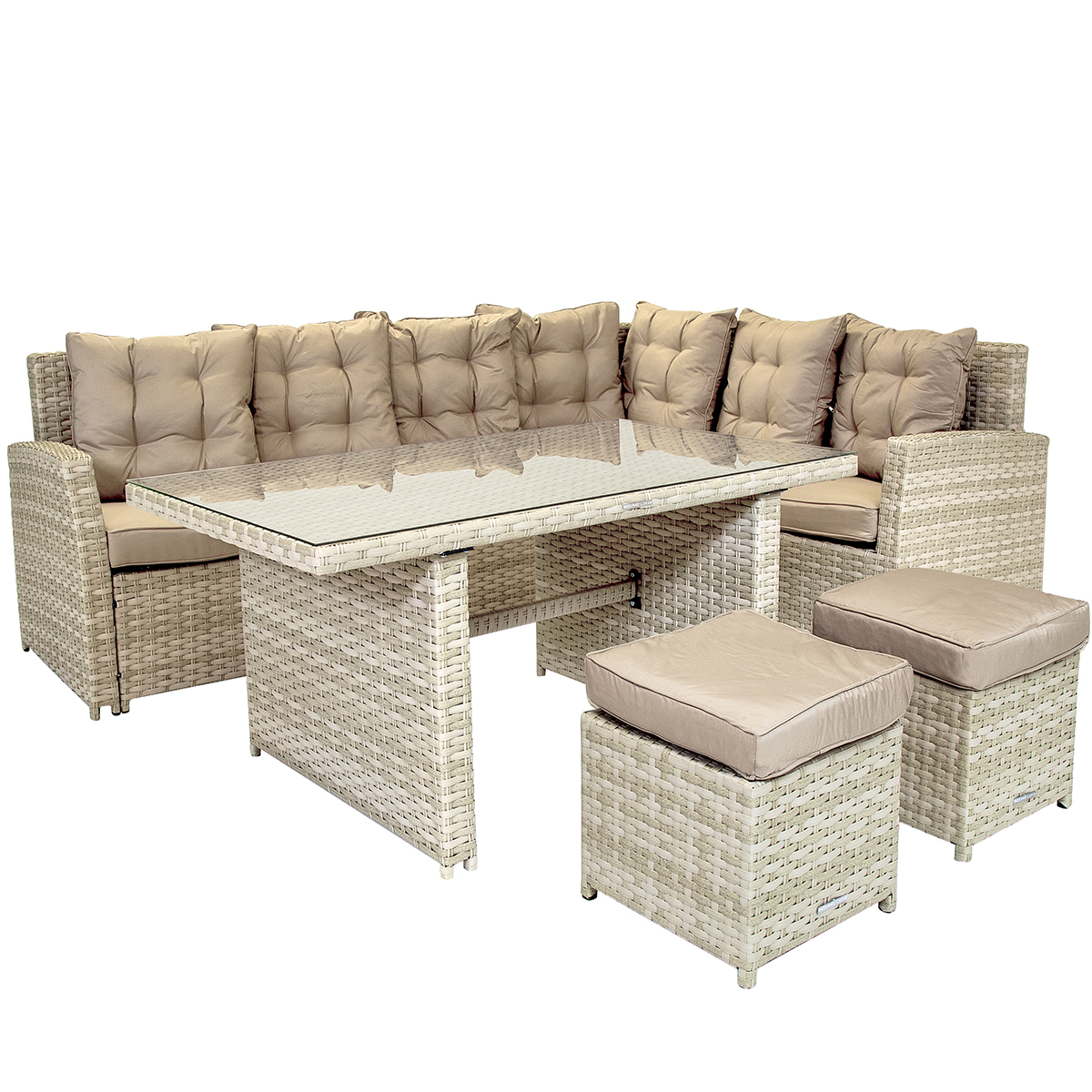 charles bentley 6 seater rattan garden dining set light grey
