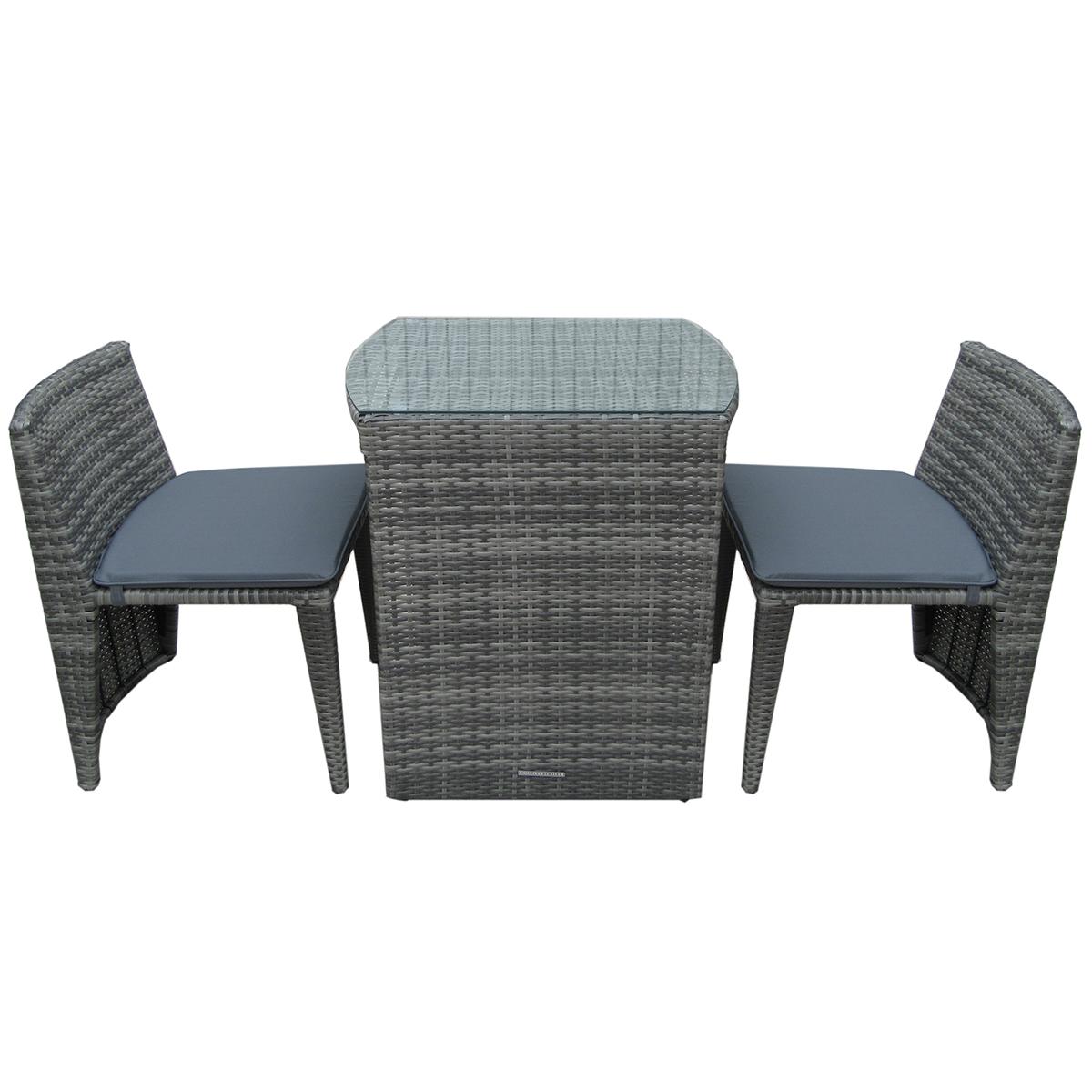 Salon de jardin compact avec 2 fauteuils - imperméable - rotin ...