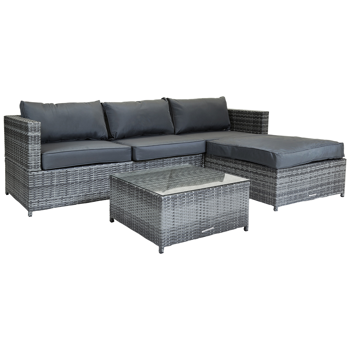 charles bentley l shaped 3 seater rattan furniture lounge set brown grey ebay. Black Bedroom Furniture Sets. Home Design Ideas