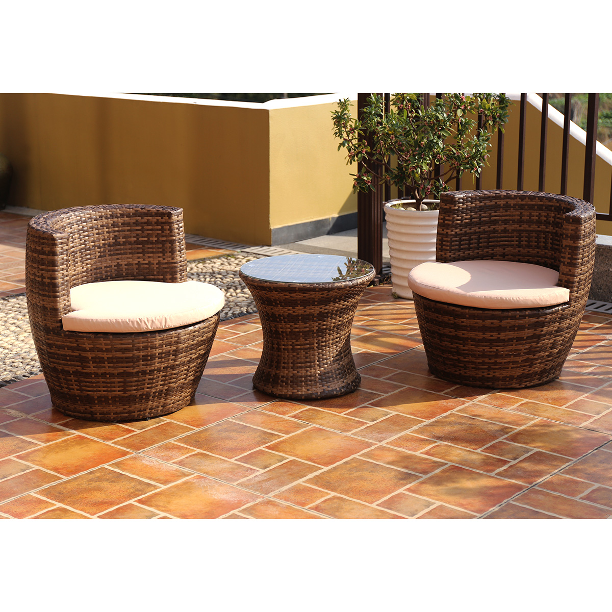 charles bentley 3 piece rattan stacking outdoor patio furniture set
