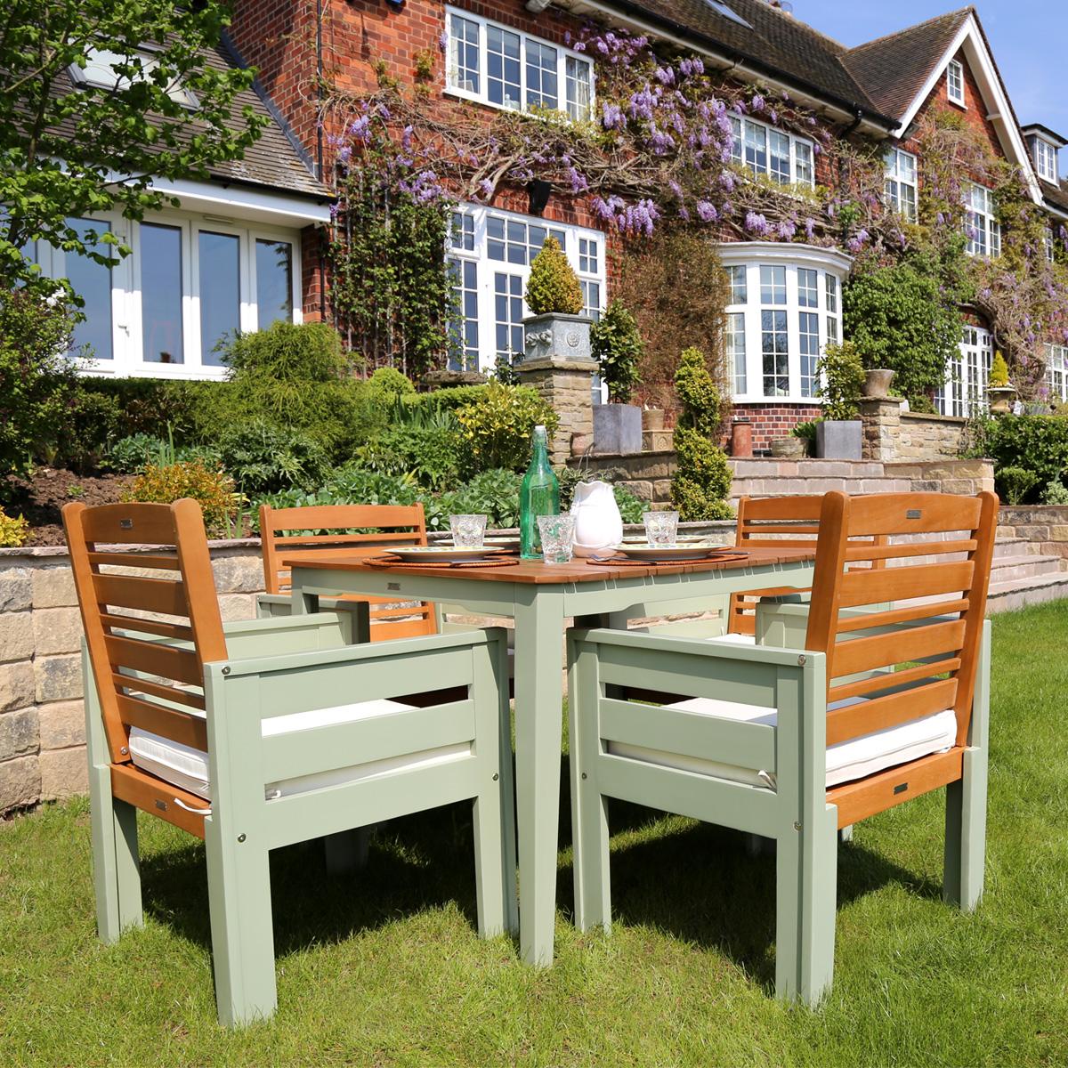 Muebles de comedor de madera jard n conjunto mesa y 4 silla patio crema o verde ebay - Mesa jardin plastico verde ...