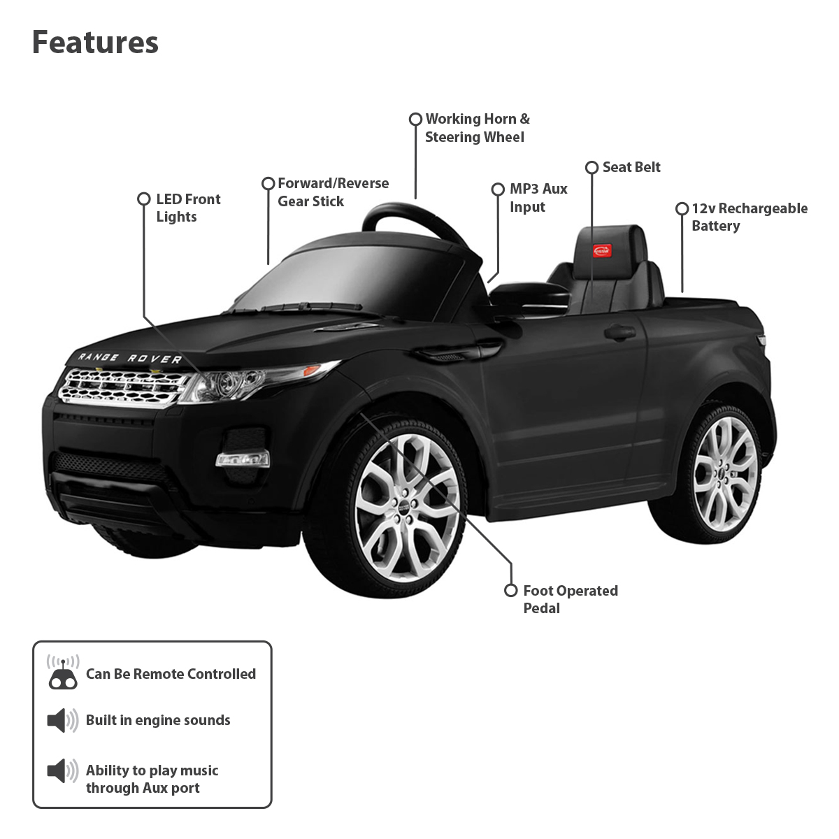 voiture lectrique 12 v style range rover t l commande. Black Bedroom Furniture Sets. Home Design Ideas