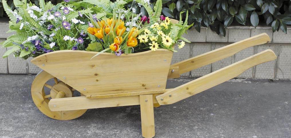 charles bentley wooden decorative wheelbarrow planter ornament. Black Bedroom Furniture Sets. Home Design Ideas