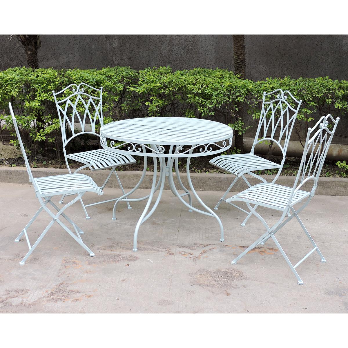 Charles Bentley Garden 5 Piece Wrought Iron furniture Set - In Green ...