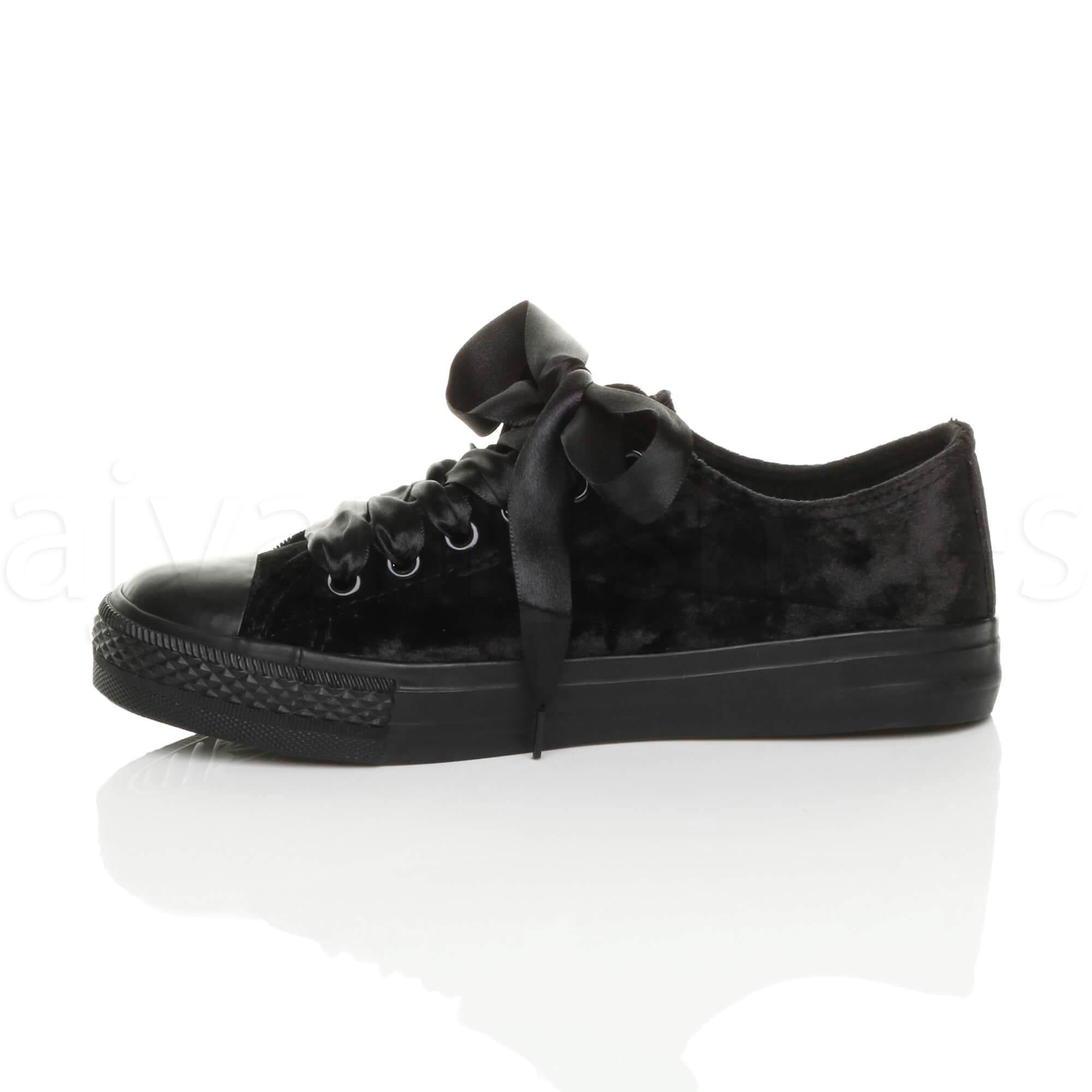 WOMENS-LADIES-RIBBON-LACE-UP-VELVET-BASEBALL-LOW-TOP-PUMPS-TRAINERS-SHOES-SIZE