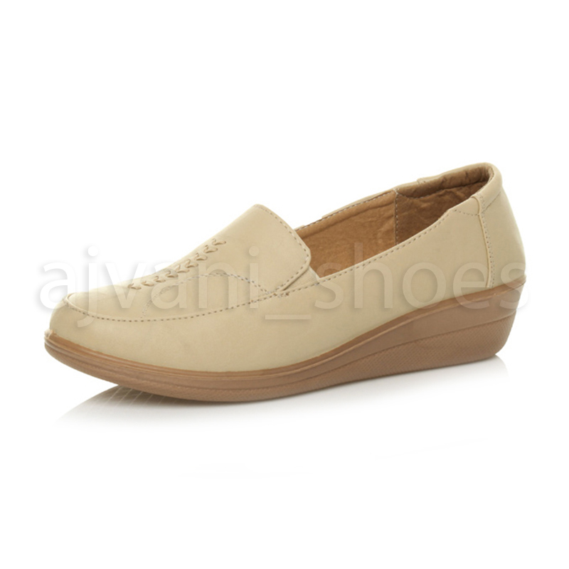 WOMENS-LADIES-MID-HEEL-WEDGE-COMFORT-PADDED-WORK-STITCHED-SHOES-LOAFERS-SIZE