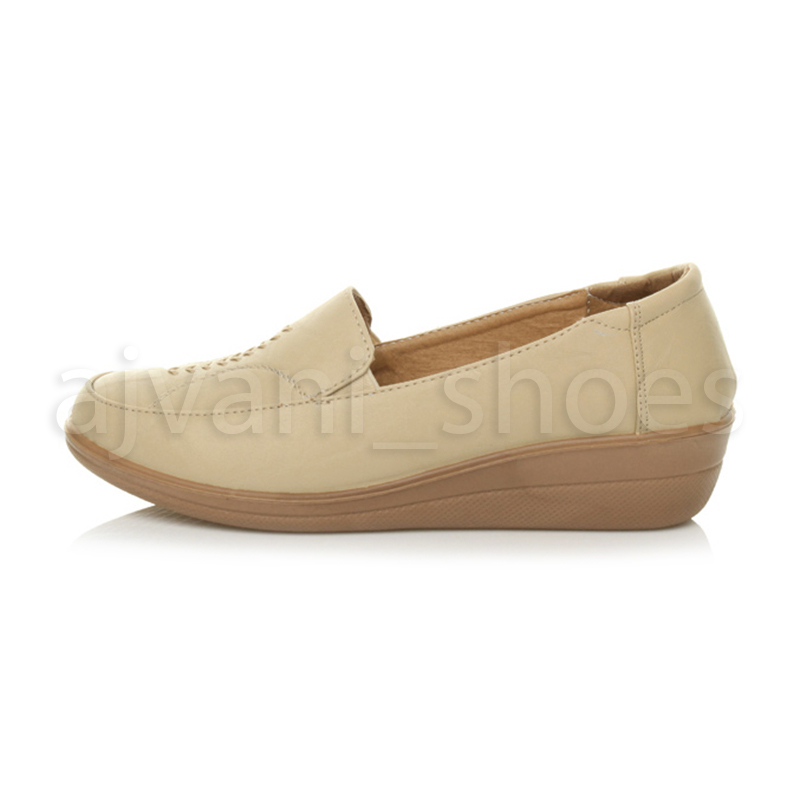 WOMENS-LADIES-MID-HEEL-WEDGE-COMFORT-PADDED-WORK-STITCHED-SHOES-LOAFERS-SIZE thumbnail 8