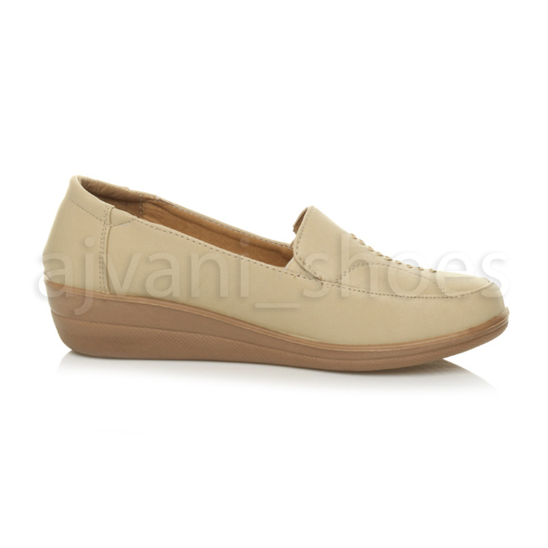 WOMENS-LADIES-MID-HEEL-WEDGE-COMFORT-PADDED-WORK-STITCHED-SHOES-LOAFERS-SIZE thumbnail 9