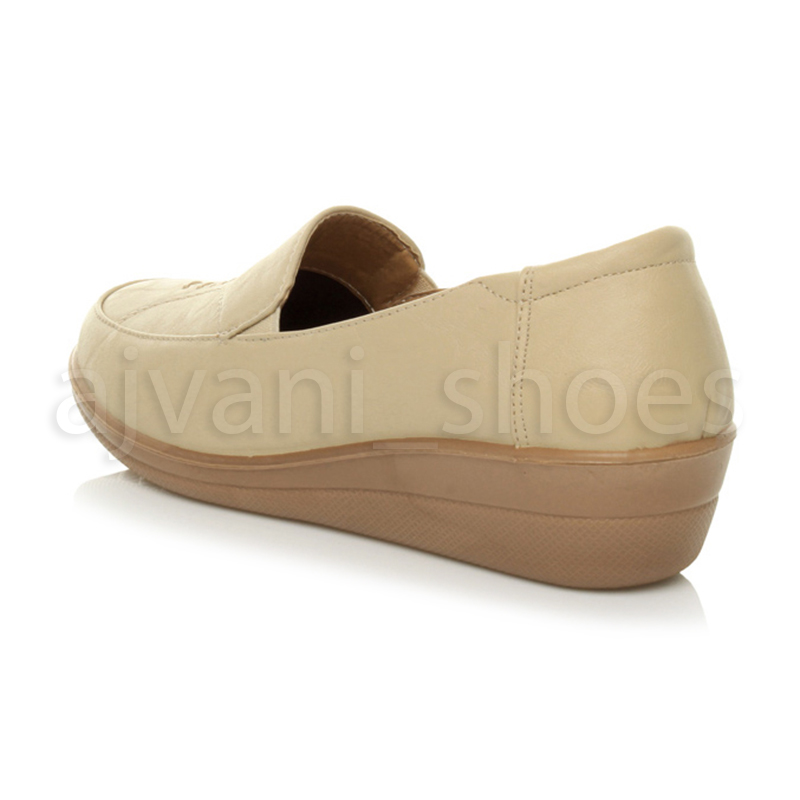 WOMENS-LADIES-MID-HEEL-WEDGE-COMFORT-PADDED-WORK-STITCHED-SHOES-LOAFERS-SIZE thumbnail 10