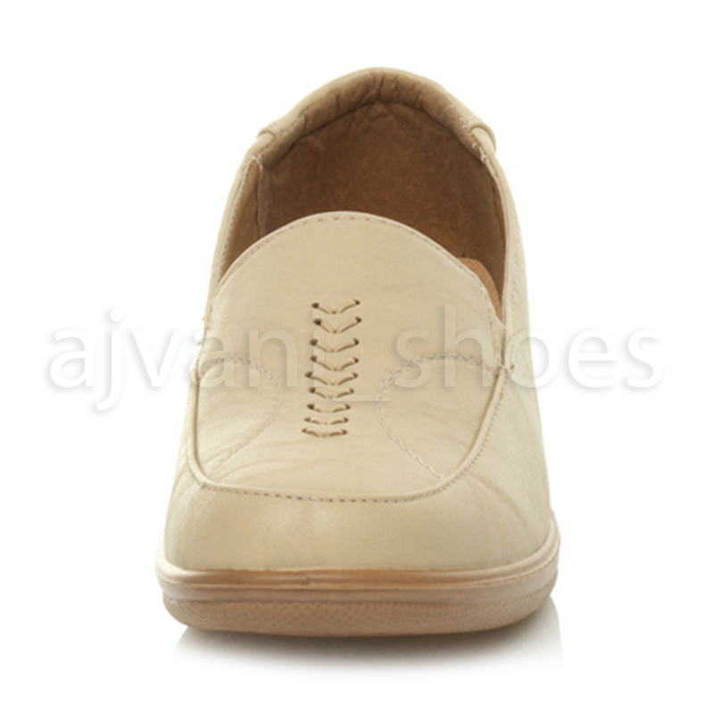 WOMENS-LADIES-MID-HEEL-WEDGE-COMFORT-PADDED-WORK-STITCHED-SHOES-LOAFERS-SIZE thumbnail 11