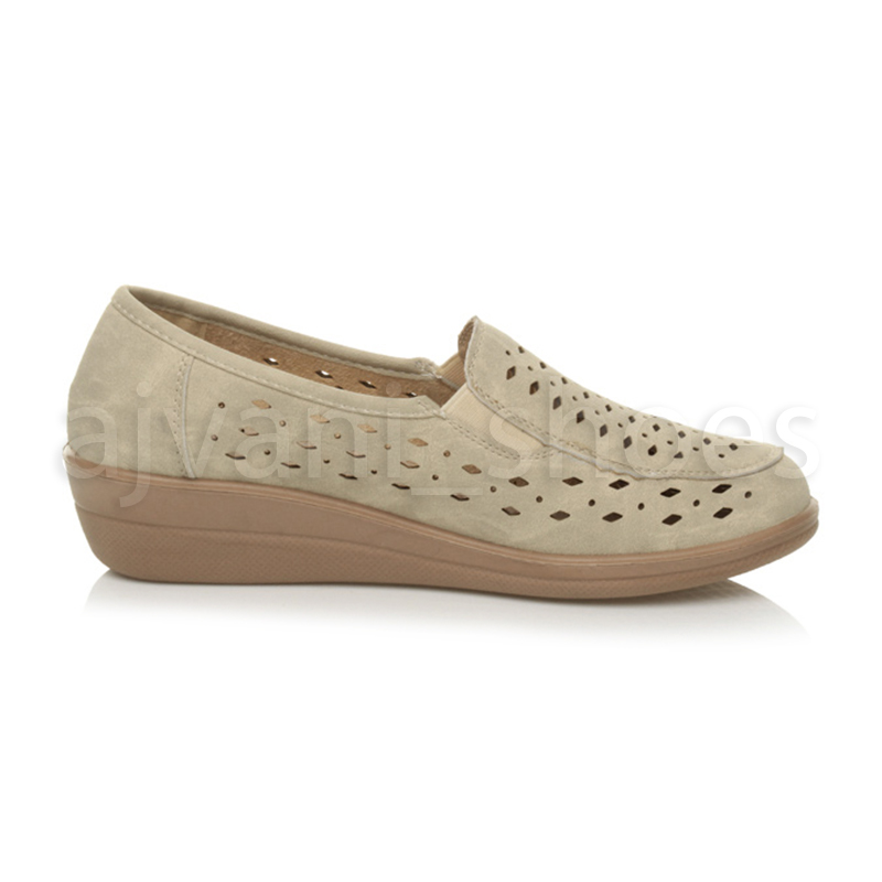 WOMENS-LADIES-MID-HEEL-WEDGE-COMFORT-PADDED-WORK-STITCHED-SHOES-LOAFERS-SIZE thumbnail 4